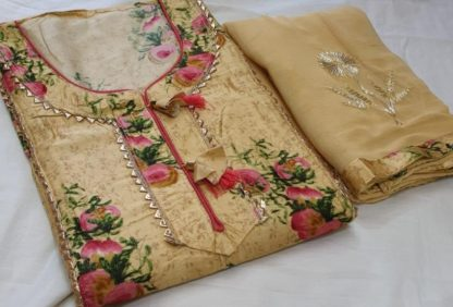 Latest Yellow color Cotton Print Dress Material for women