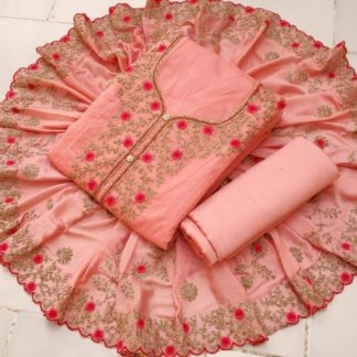 Amazing Peach Color Chanderi Silk Embroidered Salwar Kameez Material For Women