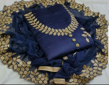 Blue Color Cotton Silk Embroidered Dress material