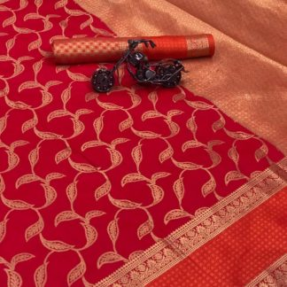 Red Color Banarasi Lichi Silk Best Quality Saree with Blouse