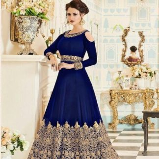 Party Wear Blue Color Faux Georgette With Embroidery Anarkali Suit