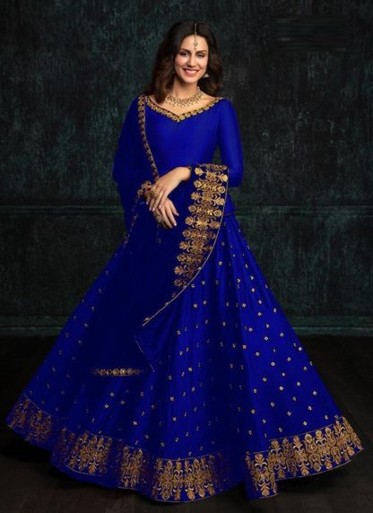 Outstanding Blue Color Special Occasions wear Tapeta Silk with Embroidery Lehenga