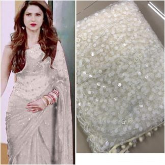 Unique White Colored Soft Net Party Wear Heavy Embrodery Sequence Work Saree For Women