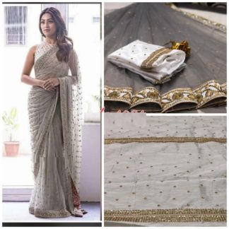 Designer Wear Alluring Net Embroidered Saree with blouse piece