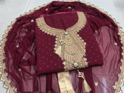 Maroon color Georgette embroidered Heavy Dress Material for women
