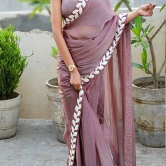 Onion Color Pure Vichitra Silk Embroidered Plain Saree With Blouse piece