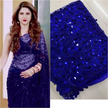 Navy Blue Colored Soft Net Party Wear Heavy Embrodery Sequence Work Saree For Women
