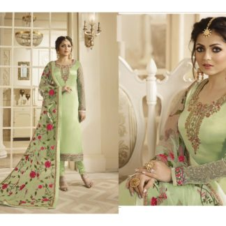 Skyblue Fashion Green Color Heavy Satin Georgette Straight cut Salwar Suit