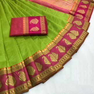 Fancy Wear Parrot Green Color Tusser Silk Saree with Blouse