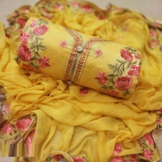 Yellow Chanderi Silk Embroidered Unstitched Dress Material
