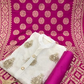 White Pink Chanderi Silk Embroidered Dress Material With Heavy Banarasi Jaquard Dupatta For Women