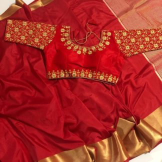 Indian Wear Red Colour Pure Tusser Silk saree