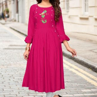 Pink color Rayon Emb Party Wear Kurti in All Size