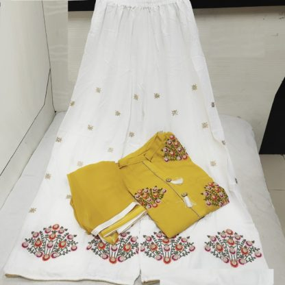 Party Wear Yellow Color Embroidered Rayon Stitched Kurta with Plazo