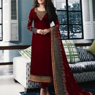 Party Wear Maroon Color Georgette Embroidered Straight Cut Salwar Suit