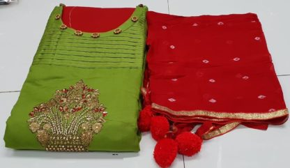 Green Cotton Silk Embroidered Dress material