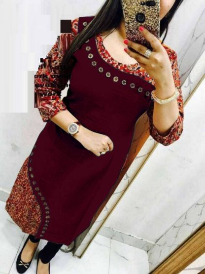Daily Wear Maroon Color Pure Cotton Printed Kurti For Women