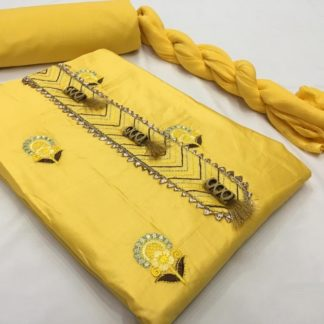 Party Wear Yellow Cotton Dress Material for women