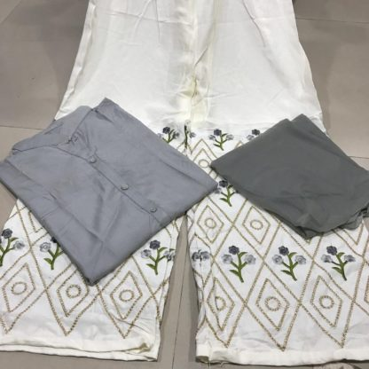 Gray Colour Rayon Embroidered Ready made Kurta With Plazo For Woman