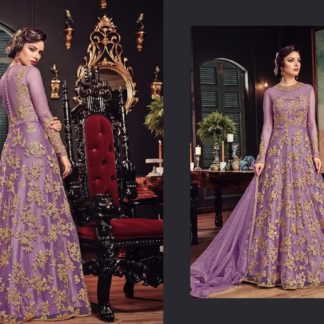 Designer Party Wear Purple Color Heavy Butterfly Net with Embroidery Anarkali Suit