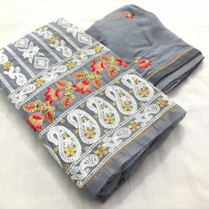 Flamboyant Grey Colored Embroidered Chanderi PartyWear Dress Material-VT1098102A