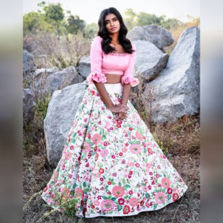 Ithnic Wear Glamorous White Floral Printed Semi Stitched Crop Top-MINIAB203