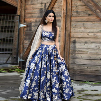 Indian Wear Exquisite Blue Flower Semi Stitched Lehenga With Cancan Net-MINIAB209