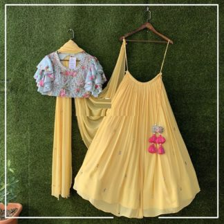 Party Wear Artistic Stylish Georgette Yellow Embroidery Semi Stitched Crop Top-MINIAB211