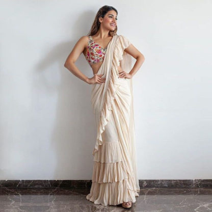 Function Wear Magnificent Off White Ruffle Saree-MINIAB219