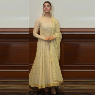 Bollywood Style Trendsetting Alia Golden Semi Stitched Gown-MINIAB243