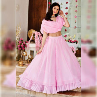 Party Wear Royal Baby Pink Ruffle Semi Stitched Lehenga-MINIAB302