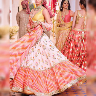 Wedding Wear Kingly Abhinav Leheriya Semi Stitched Lehenga-MINIAB304