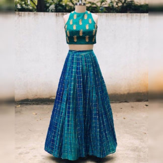 Festive Wear Brilliant Pineapple Rama Semi Stitched Lehenga-MINIAB312