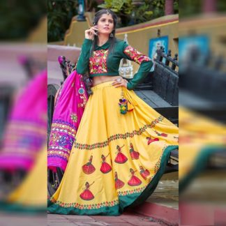 Function Wear Gorgeous Yellow Lorry Semi Stitched Lehenga-MINIAB318