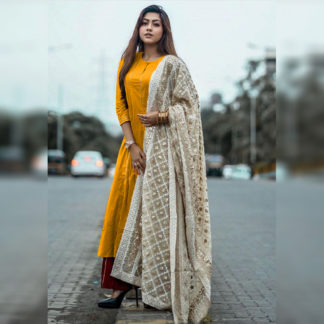Indian Wear Ritzy Reem Mustard Yellow Suit Semi Stitched Suit-MINIAB324
