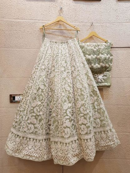 Excellent Pista Colored PartyWear Net Lehenga Choli With Chain Stitched Work-VT20426094P