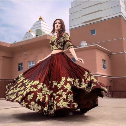 Gleaming Chocolate Colored Party Wear Pear Silk With Embroidered Lehenga Choli-VT1159DVD9080
