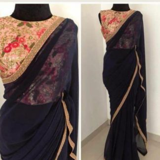 Gorgeous Black Georgette Saree With Full Heavy Embroidered Blouse -VT1080LF565