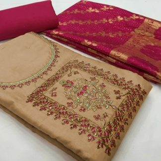 Blooming Cream & Pink Colored Full Heavy work With Mirror Work Banarasi Salwar Suit-VT2006101CP