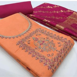 Entrancing Peach & Pink Party Wear Cotton Satin With Heavy Mirror Work With Banarasi Dupatta Salwar Suit-VT2006108PP