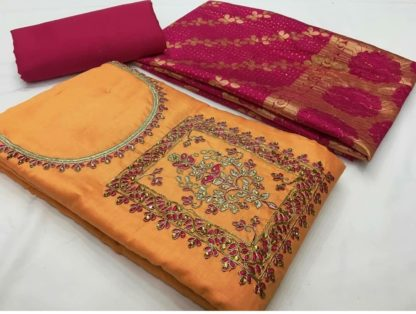 Beautiful Yellow & Pink Cotton Satin With Heavy Mirror Work Party Wear Salwar Suit-VT2006110YP