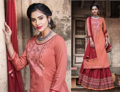 Flaunt Orange & Maroon Cotton With Embroidered Work Party Wear Semi Stitched Suit-VT1007202OM