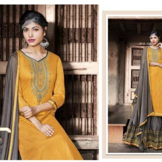 Graceful Yellow & Grey Cotton With Embroidered Work Salwar Suit-VT1007203YG