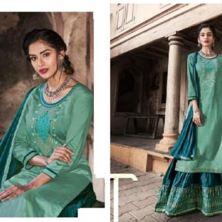 Captivating Sea Green & Blue Cotton With Embroidered Work Party Wear Salwar Suit-VT1007204SGB