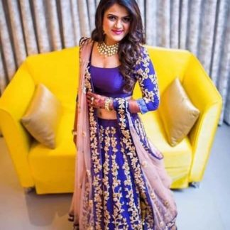 Energetic Royal Blue Colored Tapeta Silk With Embroidered Work Designer Party Wear Lehenga Choli-VT1159DVD9053D