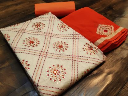 Adorable Orange Colored Chanderi Cotton With Katha Work Salwar Suit-SN502D