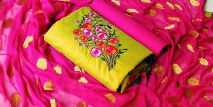 Blooming Green & Pink Chanderi Cotton With Embroidered Hand Work Semi Stitched Salwar Suit-VT3034101A