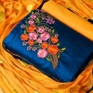 Majesty Blue & Yellow Chanderi Cotton With Embroidered Hand Work Salwar Suit-VT3034101E