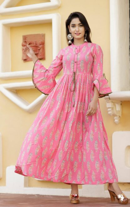 Best Performing Pink color Cotton Printed Gown with Belly Sleeve For women