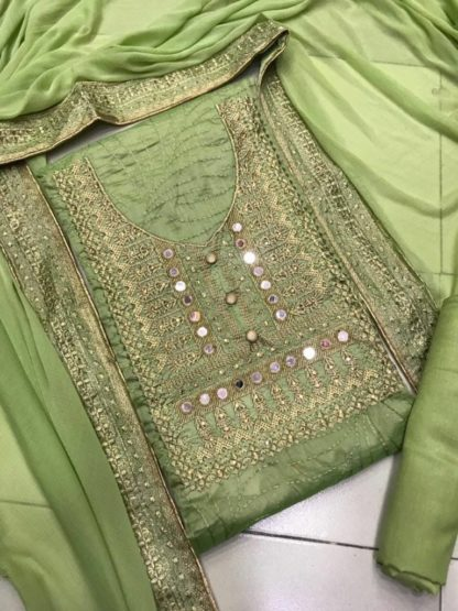 Green Color Chanderi Silk Embroidered Dress Material For Women